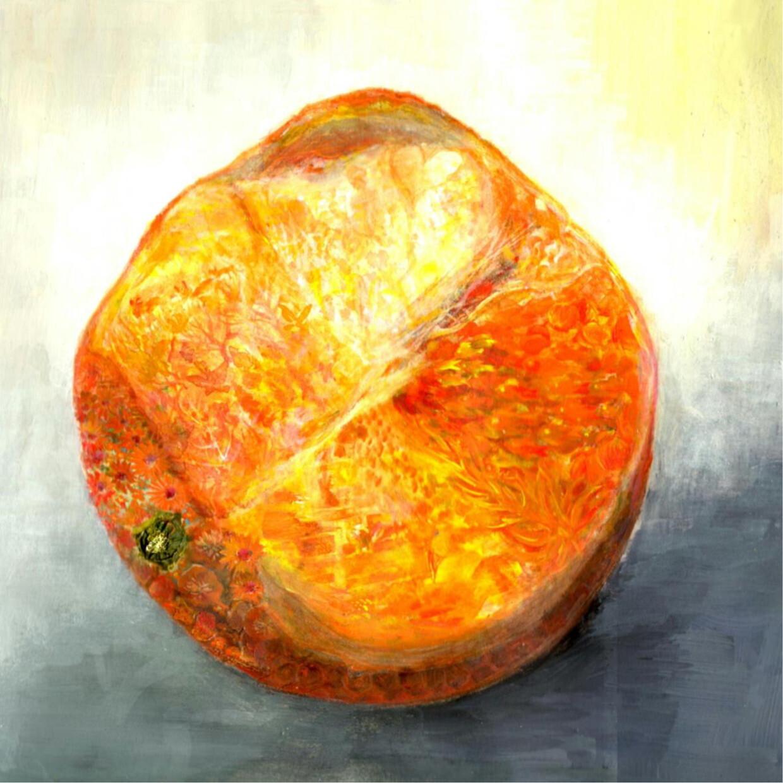 絵画 絵 ピクチャー 縁起画 モダン シェアハウス アートパネル アート art 14cm×14cm 一人暮らし 送料無料 インテリア 雑貨 壁掛け 置物 おしゃれ 水彩画 おれんじ みかん 果物 くだもの ロココロ 画家 : MP 作品 : オレンジ