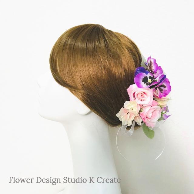 パンジーと薔薇のヘッドドレス(Uピン 19 本セット) 結婚式 ウェディング