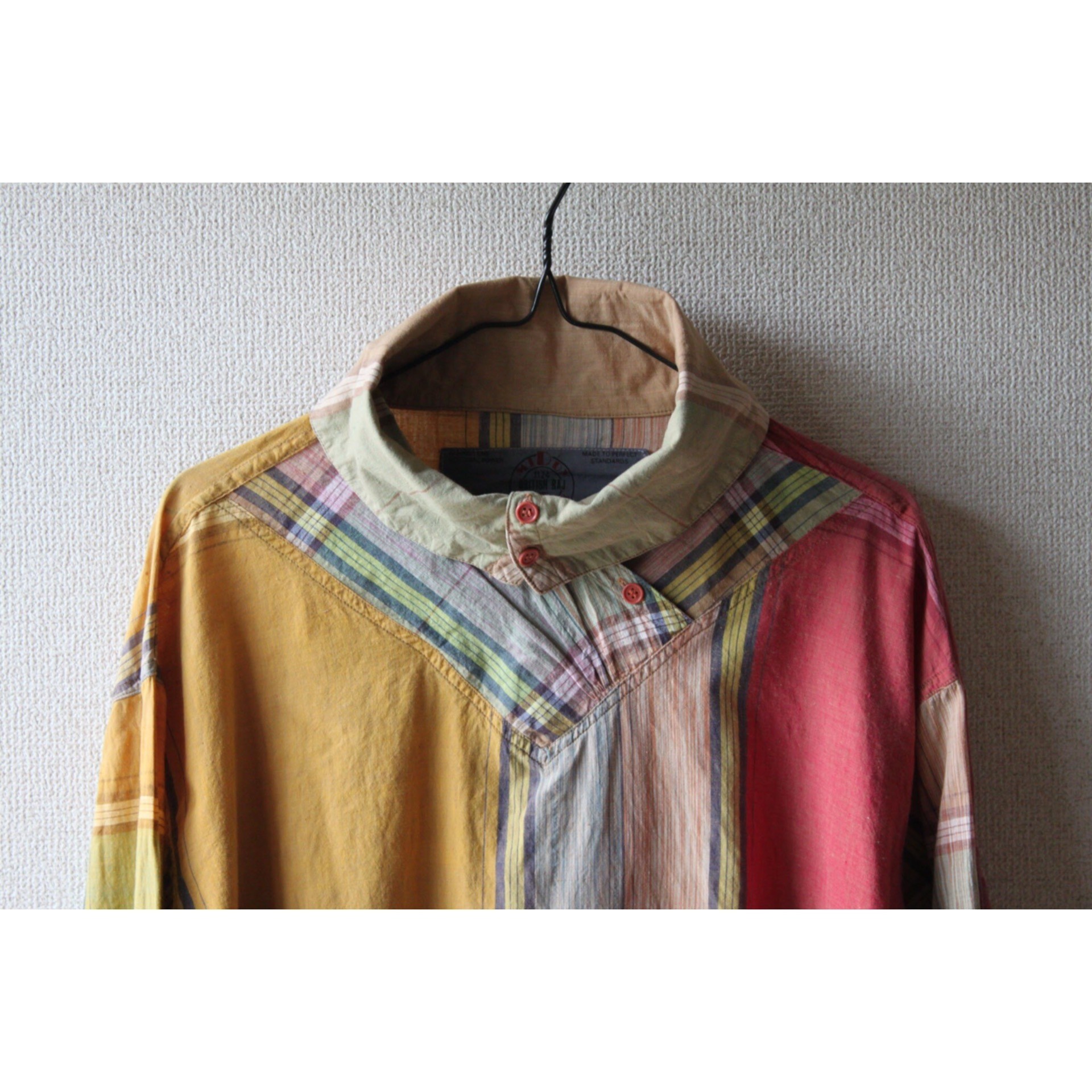 Vintage high neck check shirt