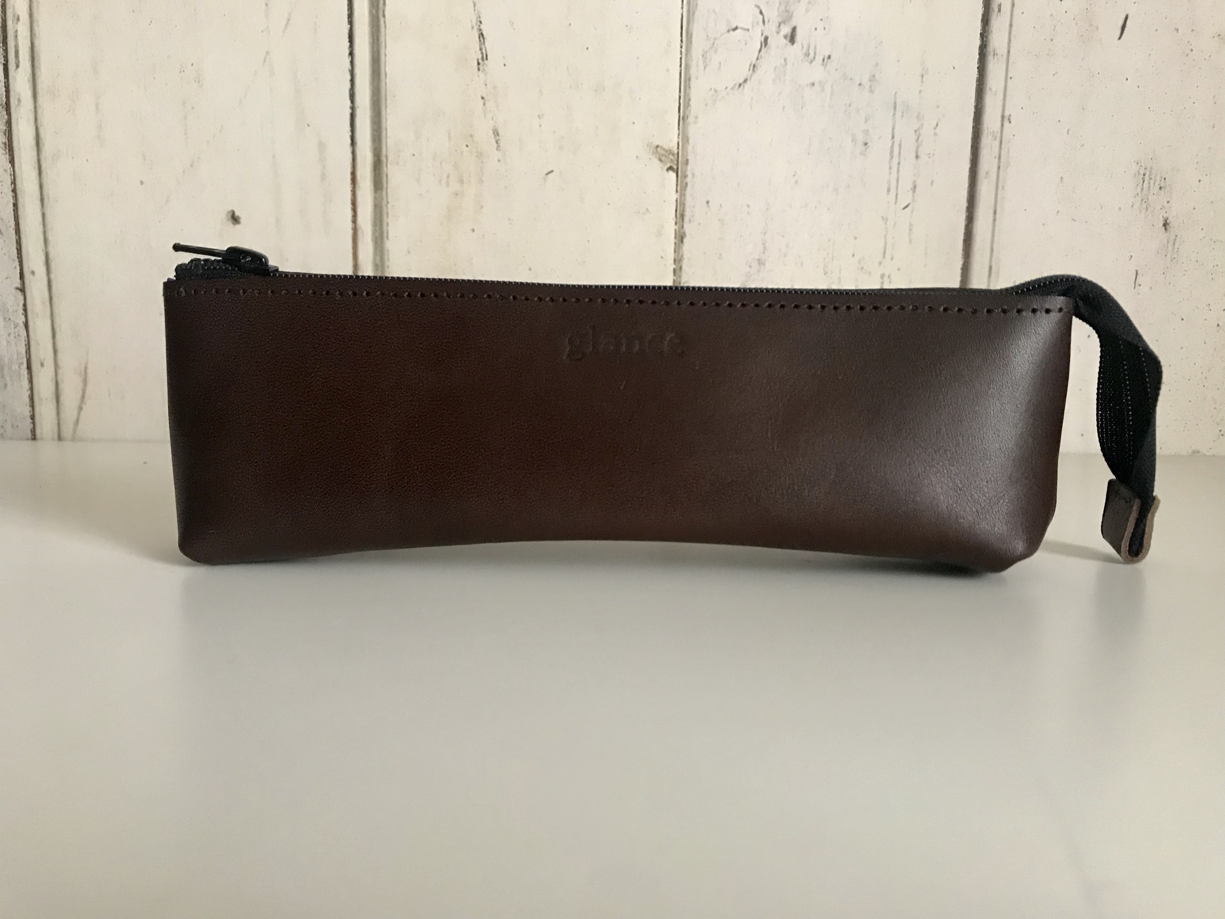 dark brown leather pencil case / hawk(鷹)antique kimono