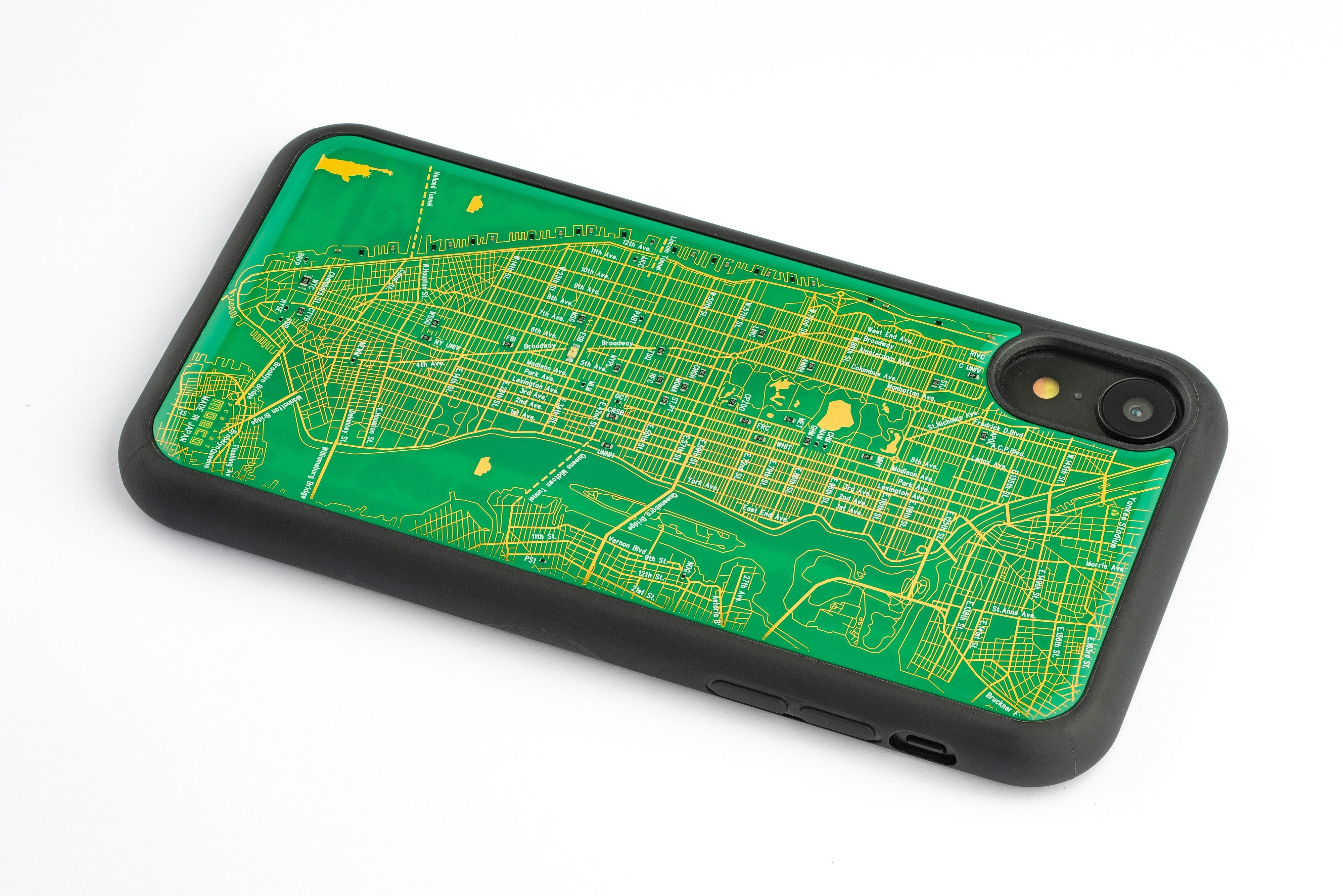 FLASH NY回路地図 iPhone XRケース 緑【東京回路線図A5クリアファイルをプレゼント】