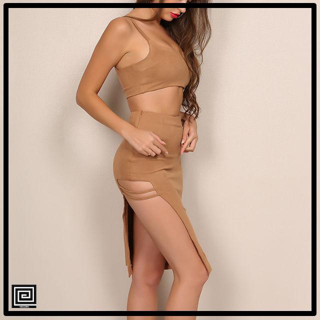 アシメトリーストリングスカートドレス