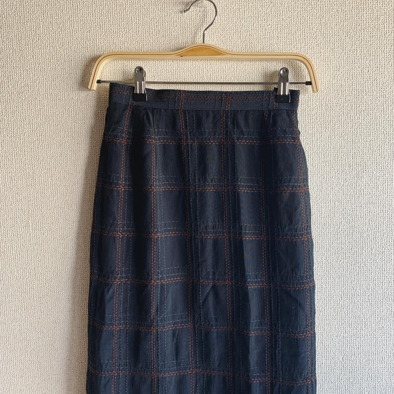 vintage stitch check skirt