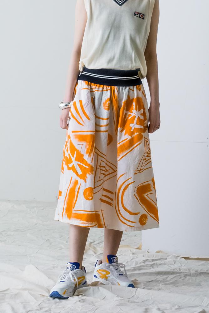 "90's "" S'classe"" Brush Pattern Skirt"
