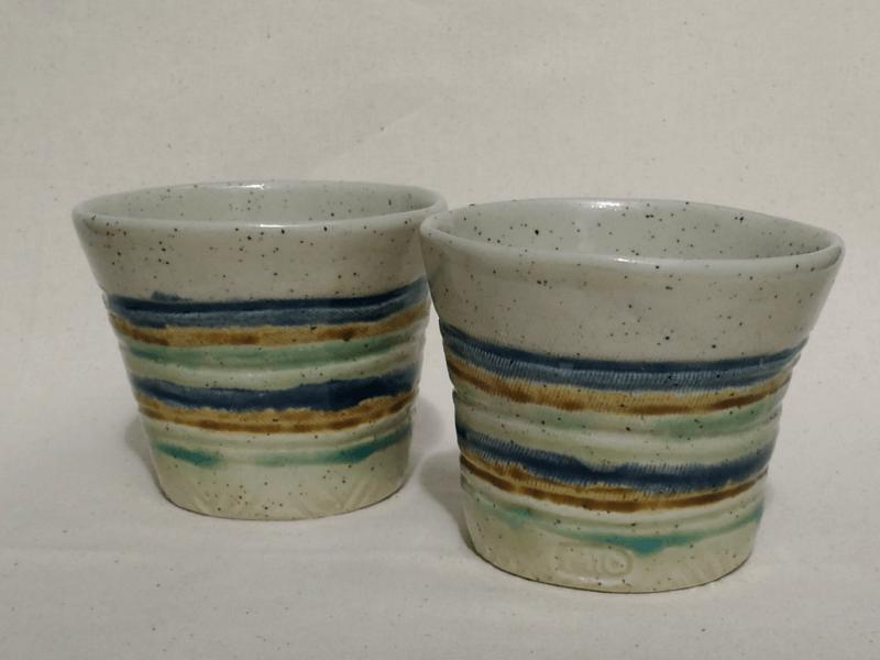 三彩フリーカップ(Sサイズ/線彫) 2個セット 工房sen やちむん