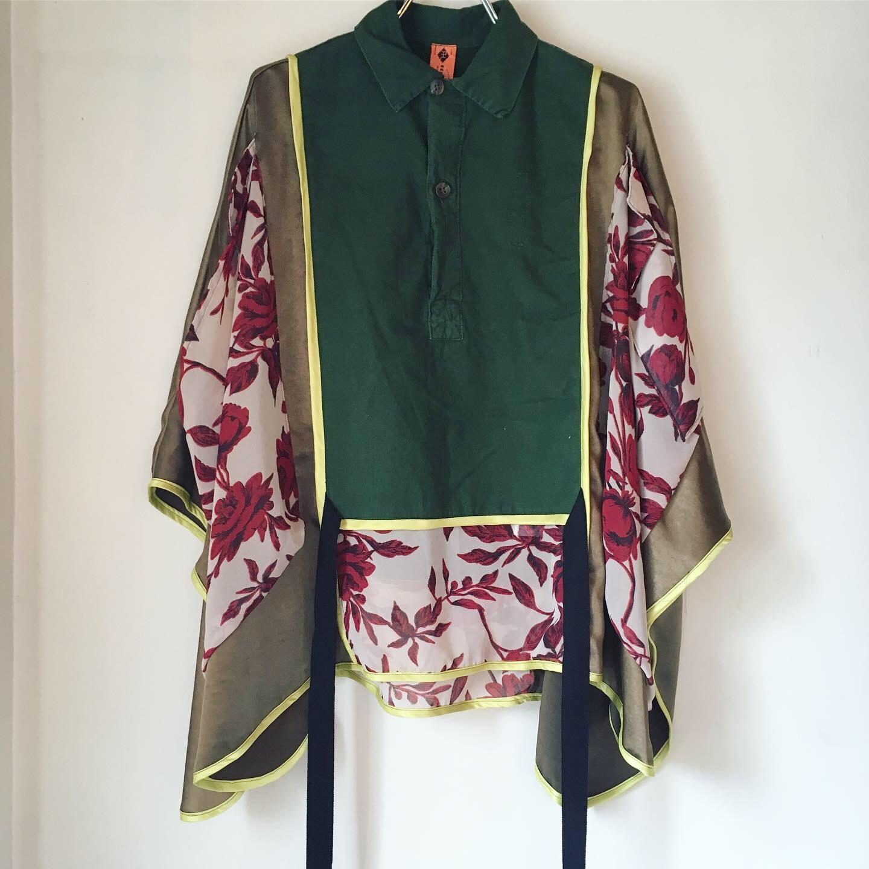 【 REHERSALL 】リハーズオール M55 print mix shirt poncho/リメイク/KHAKI