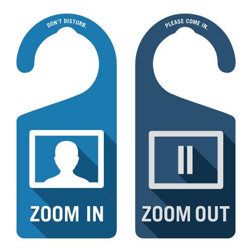 ZOOM IN(ブルー)[1007] 【全国送料無料】 ドアノブ ドアプレート メッセージプレート