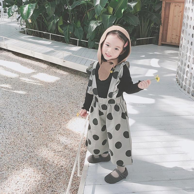 3c88081f1bb02  90 韓国ファッション キッズ ドット柄 サロペット ガウチョ ワイドパンツ 水玉 子供 ロンパース 九分丈 子供服