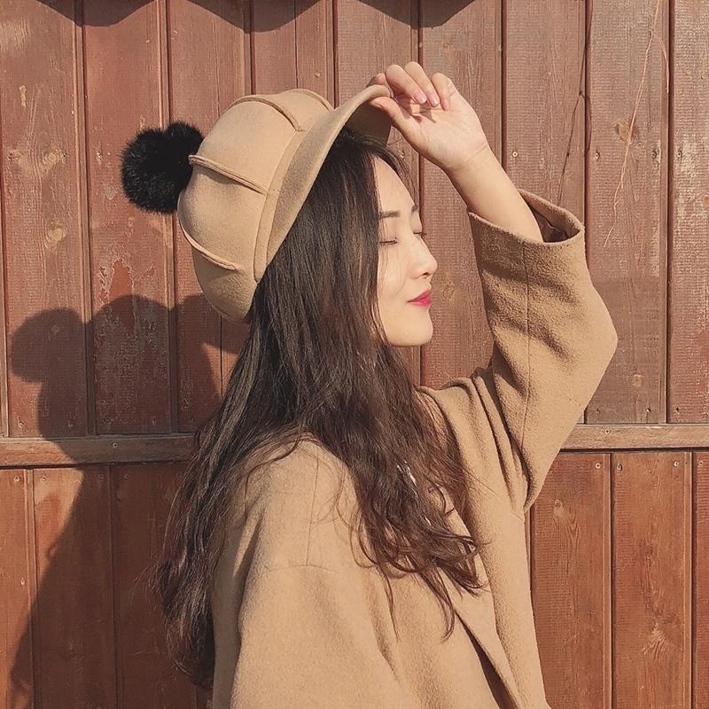 【送料無料】キュートなポンポン付き♡ キャスケット ハット 帽子 ファー