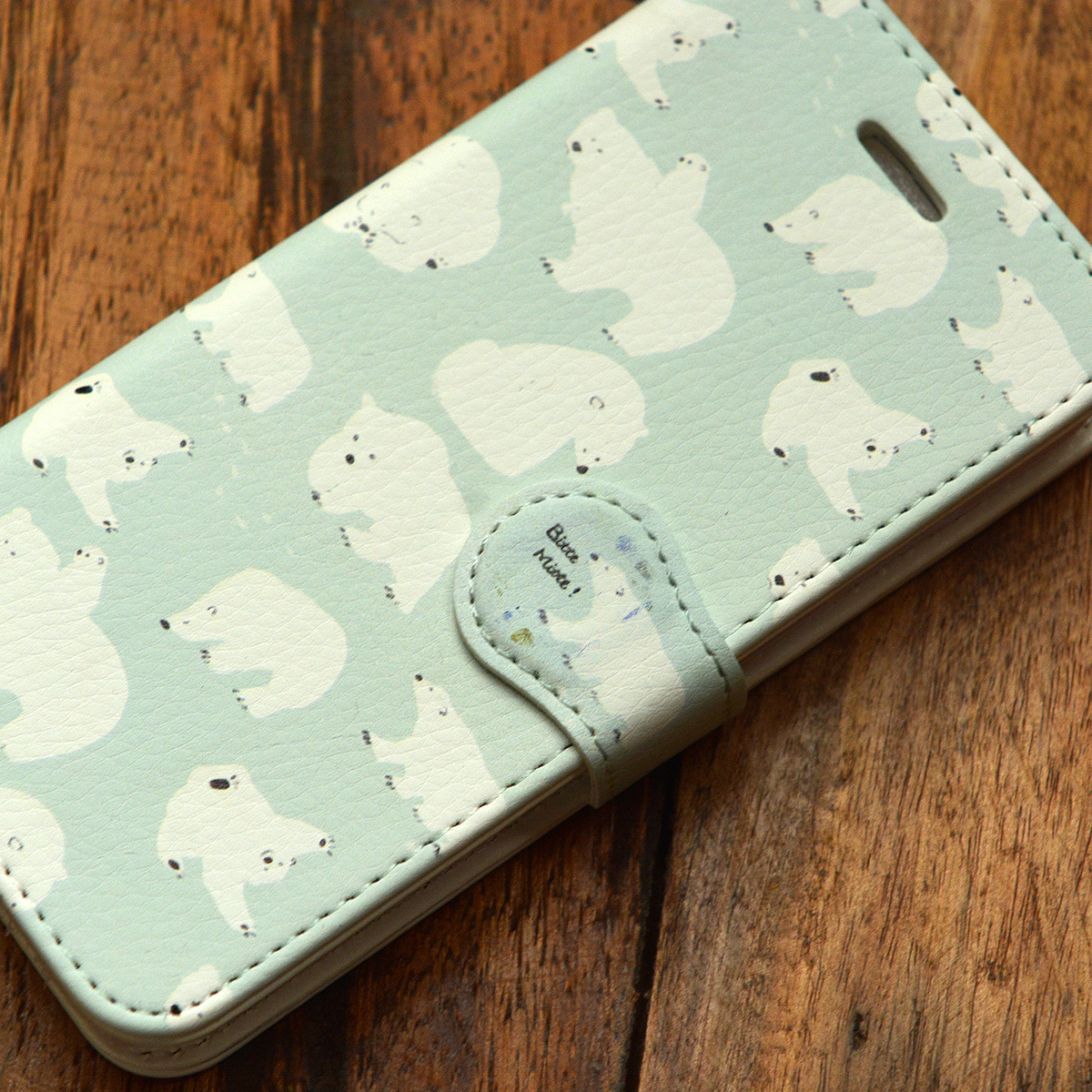【訳あり】アイフォン7 ケース 手帳 かわいい iphone7 ケース かわいい シンプル iphone7 ケース 手帳 大人かわいい しろくまの一日/Bitte Mitte!【bm-iph7t-10007-B2】