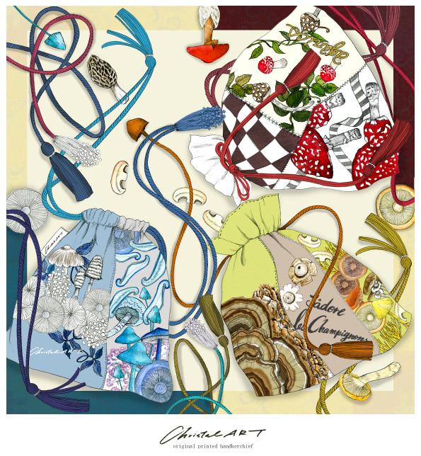 限定2セットのみ販売◆特別価格◆キノコの菌ちゃく柄ストール&スカーフセット
