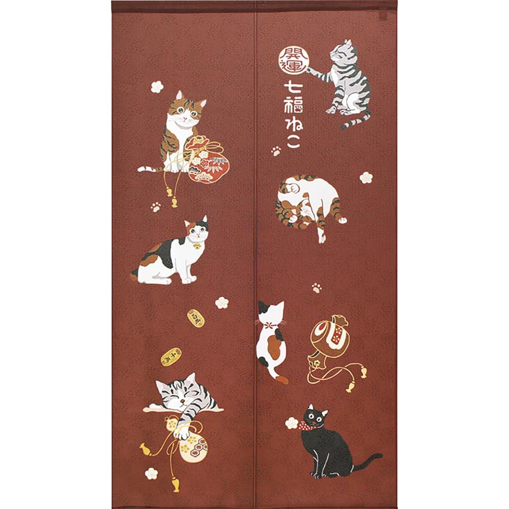 猫のれん(福招きネコ)エンジ