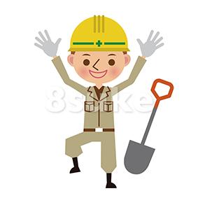 イラスト素材:バンザイをする土木工事の作業員(ベクター・JPG)