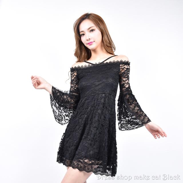 (フリーサイズ) 袖フレアーデザイン 総レース重ねストレッチミニドレス ¥5,713- (税込)  ドレス パーティー  005