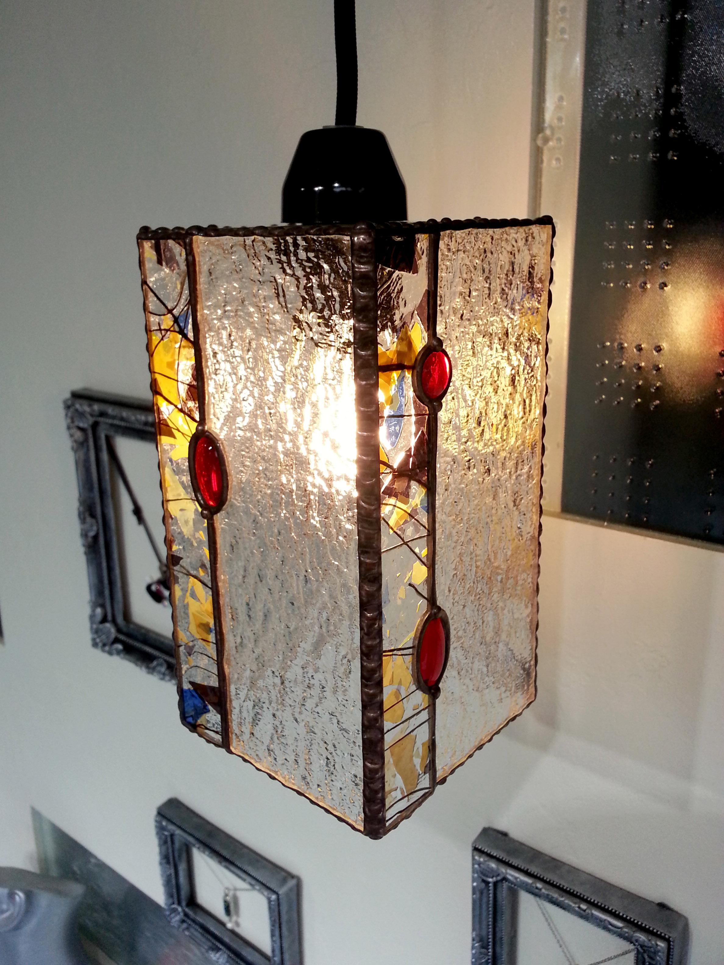 フラクチャーとクリアガラスのステンドグラスペンダントランプ