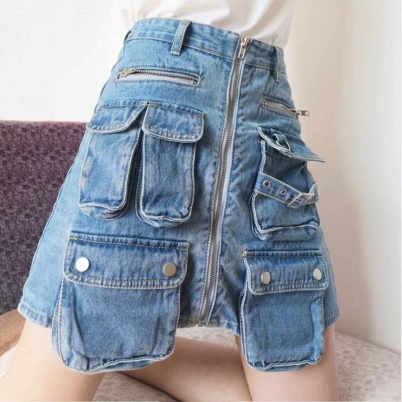 many pocket denim skirt