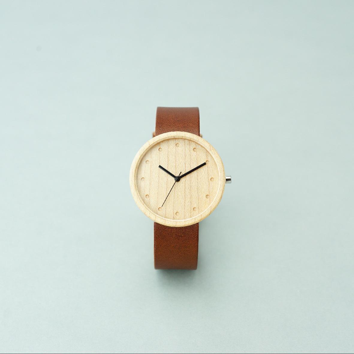 Maple wood - Organic leather Dark Brown - L