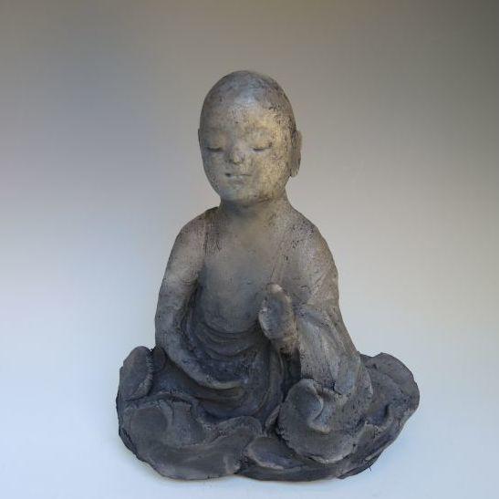 黒陶の仏像 (船越保氏作)F40