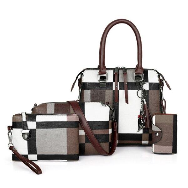 チェック柄 高級ハンドバッグ 2020タッセル財布とハンドバッグセット4ピースバッグ ボルサフェミニナ Coffee