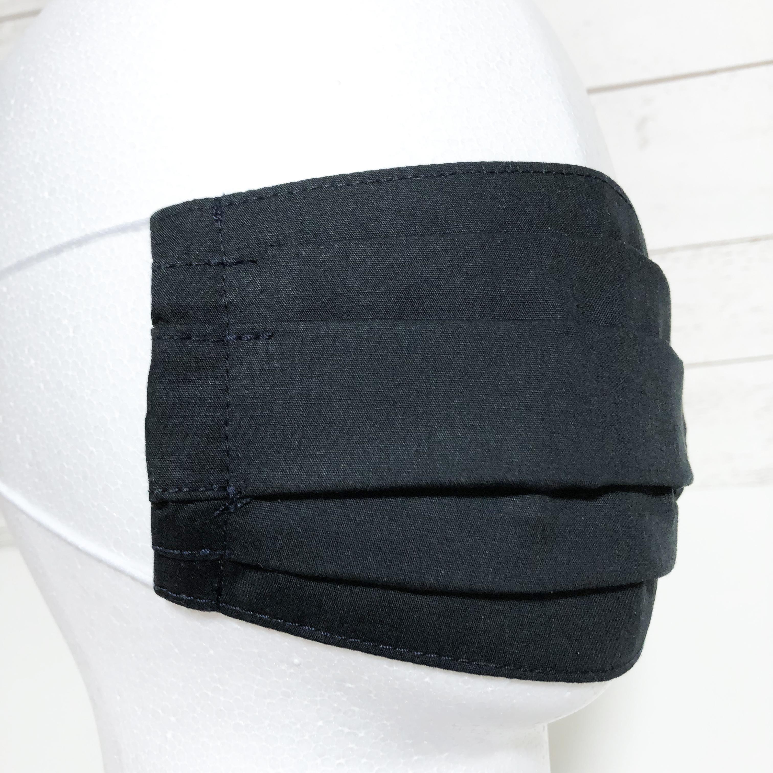 エチケットマスク プリーツタイプ 黒 ブラック 大人サイズ マスク用ゴム紐使用