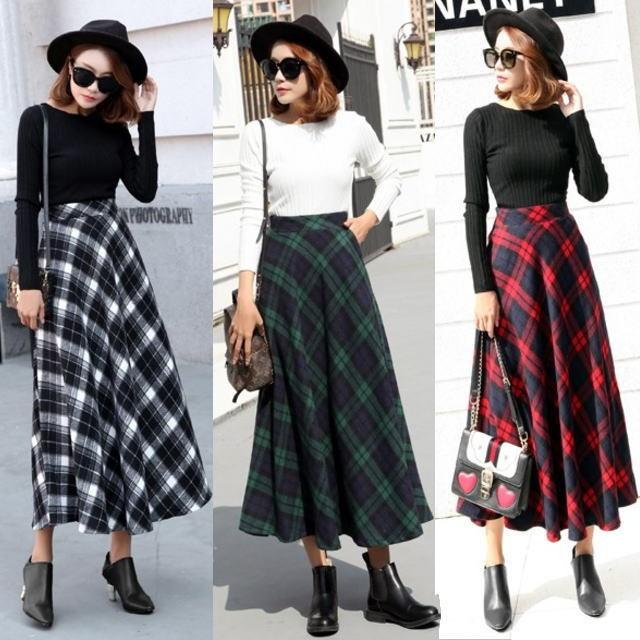 タータンチェック ◆ ロングフレアスカート 3色