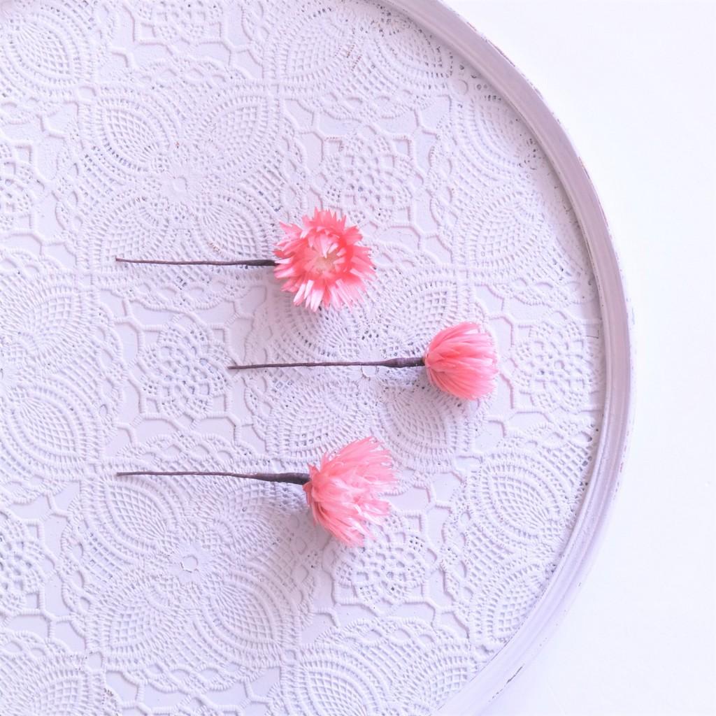 〖 ロゼ・シルバーデイジーのヘッドドレスパーツ3本 〗お好きなプリザ花材をカスタムメイドでお作り致します