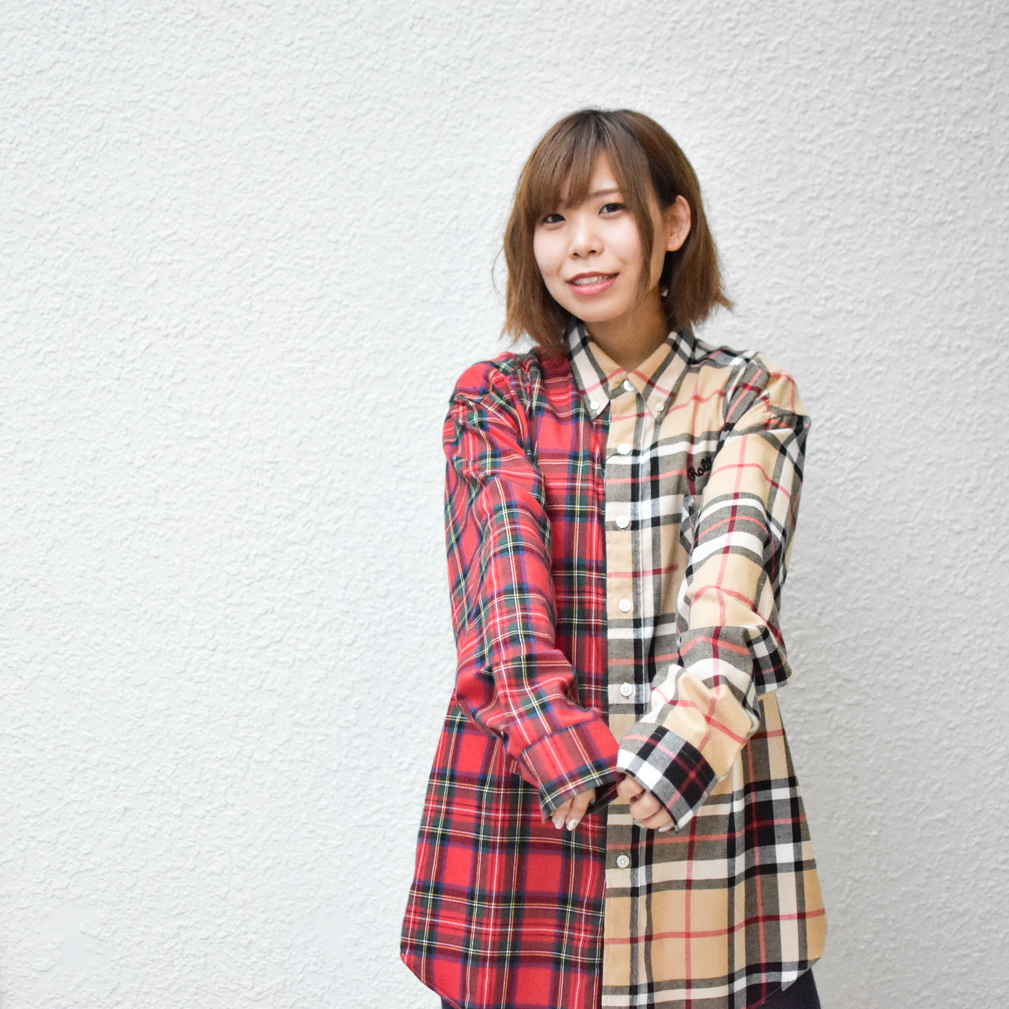 【ROOLING CRADLE | ロリクレ】CHECK CHECK BIG SHIRT / Red-Beige