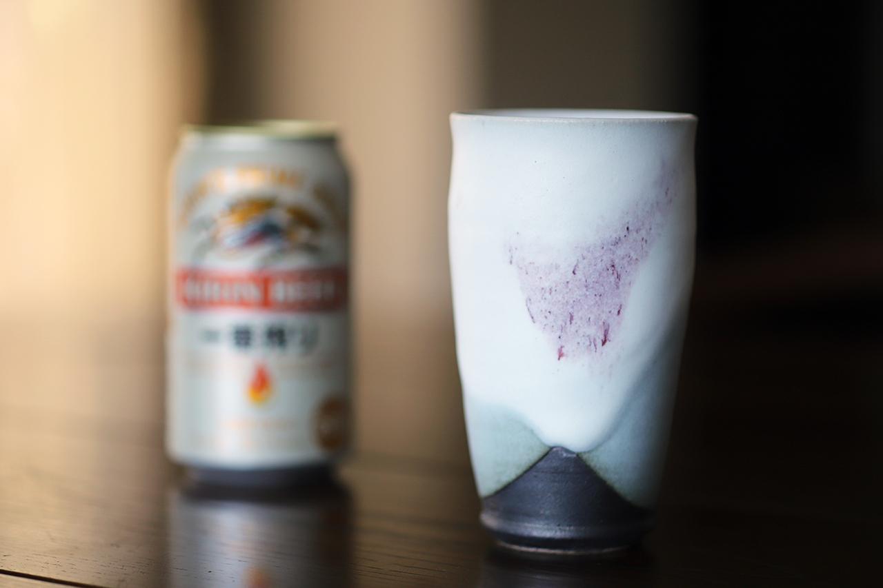 雪中華 麦酒杯(小) 作:谷井芳山・谷寛窯(信楽焼)