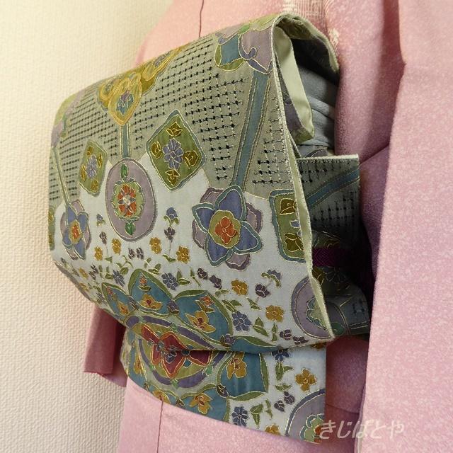 正絹 ブルーグレーにスワトウ刺繍の袋帯