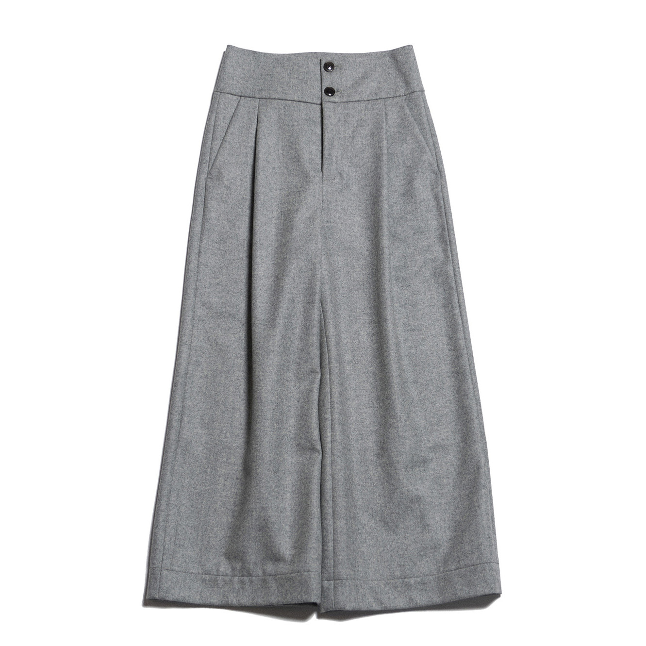 FLANNEL WIDE PANTS - GRAY