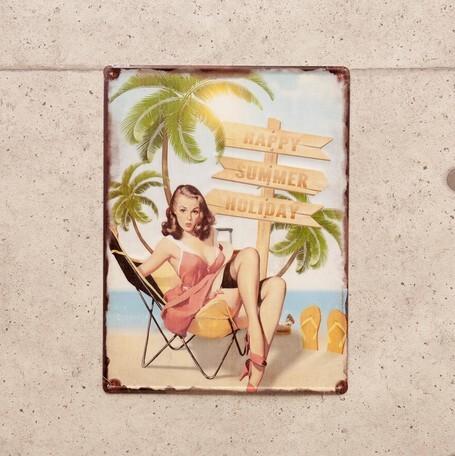 アンティーク調エンボスプレート ピンナップガール HAPPY SUMMER HOLIDAY