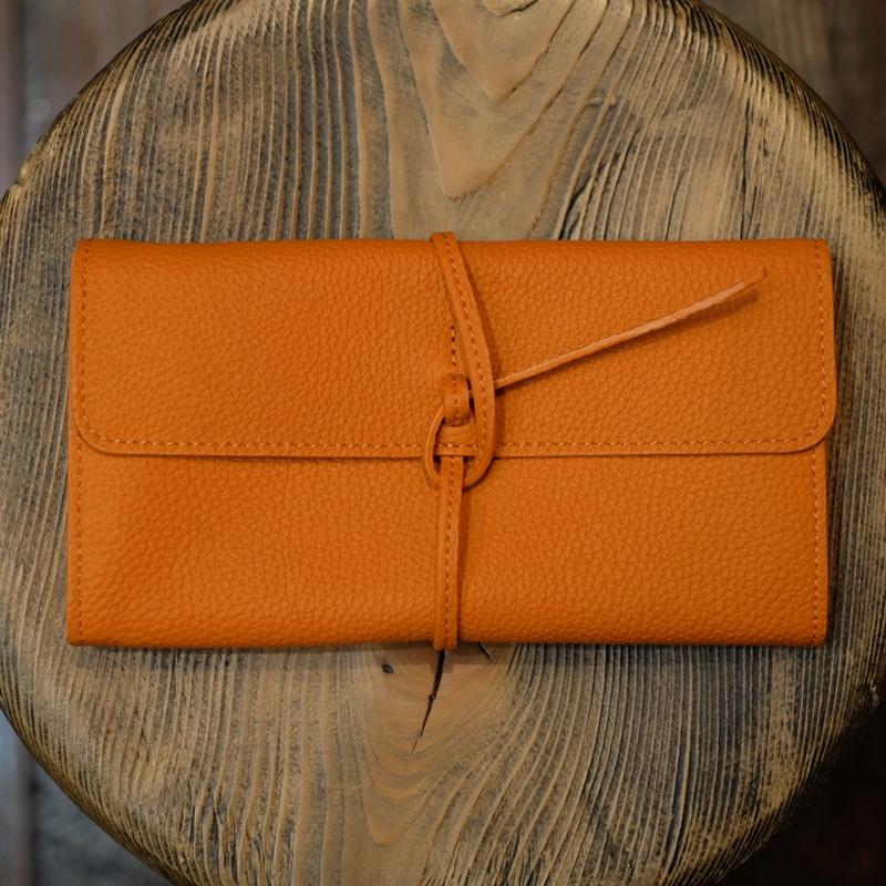 ル・ボナー 紐財布 オレンジ