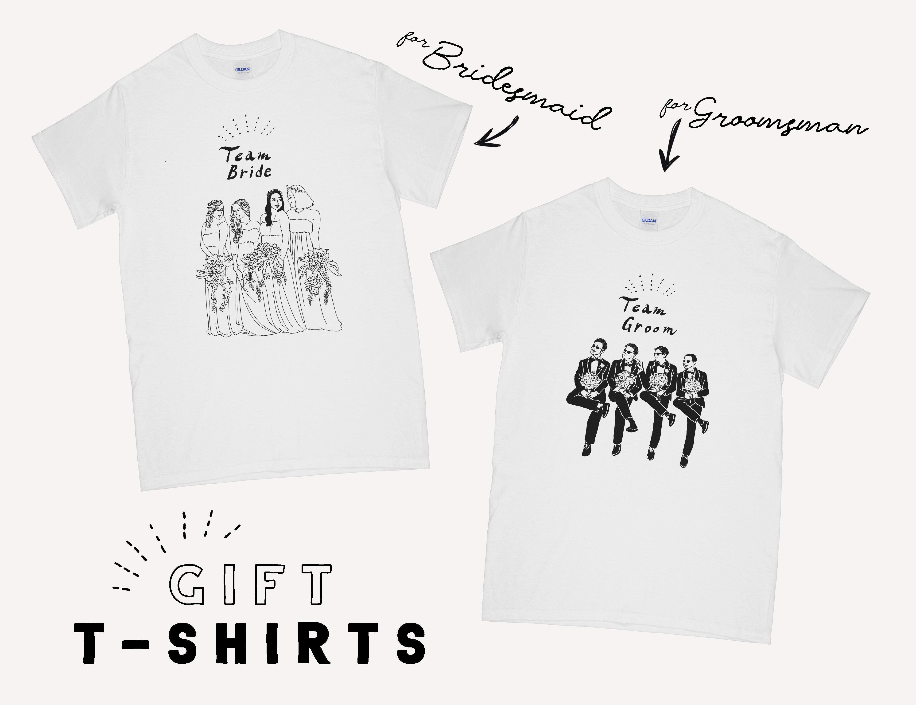 ブライズメイド & グルームズマン用 Tシャツ │ ウェディング 結婚式