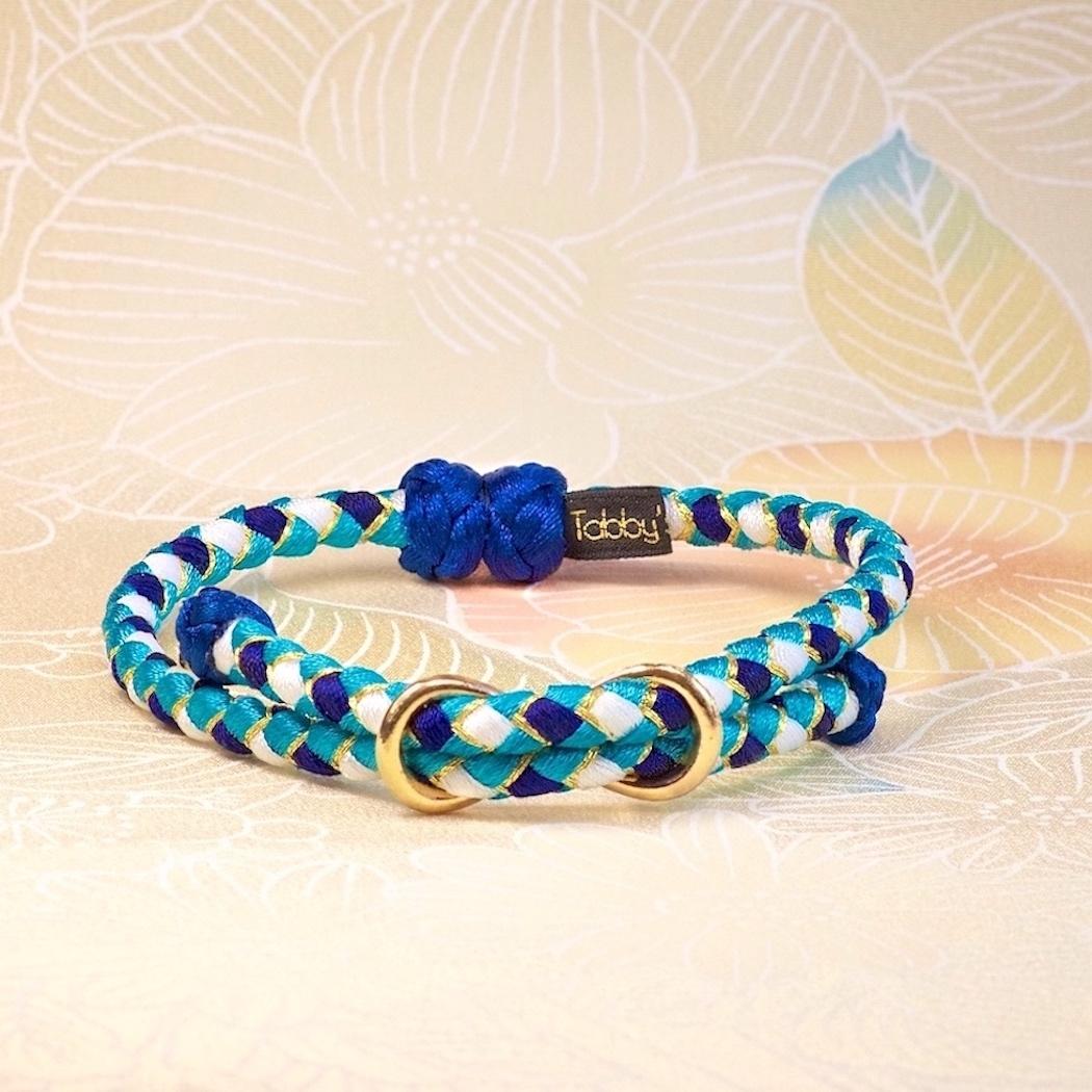 Blue Ocean【ペア】組紐ブレスレット&猫首輪 ペアセット