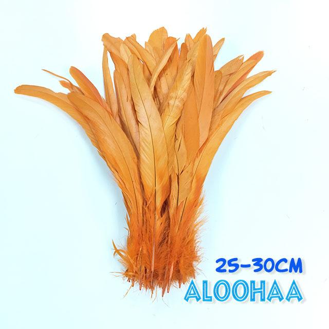 単色ロングフェザー 【オレンジ】25-30cm タヒチアン 衣装 材料 ルースターテール 染め 羽根