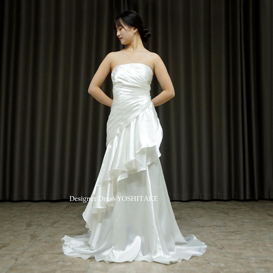 【オーダー制作】ウエディングドレス(無料パニエ) 挙式用白ドレス/上半身プリーツスカートフリルスレンダーオリジナルドレス/フォト婚 ※制作期間3週間から6週間