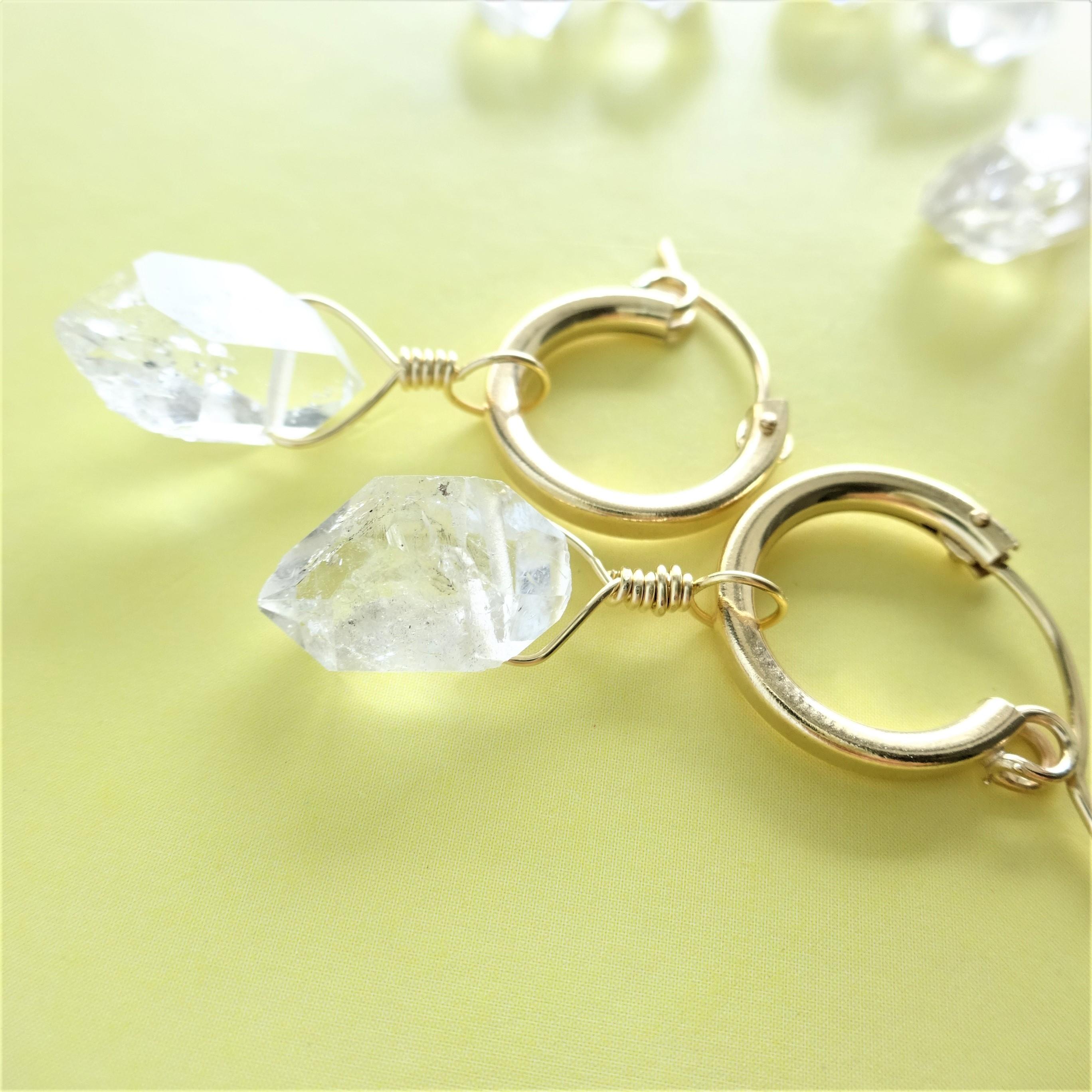 送料無料 14kgf*Herkimerdiamond hoop pierced earring / earring