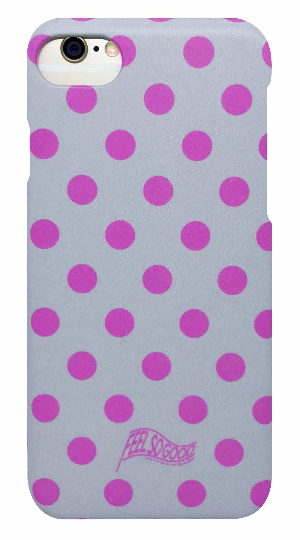 ドット ・ グレー × ピンク つや消しハードケース