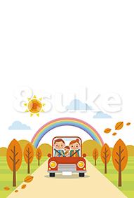 イラスト素材:ドライブを楽しむ家族/秋(ベクター・JPG)