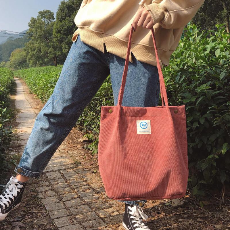【送料無料】 コーデュロイで秋っぽ♡ トートバッグ ショルダー キャンバスバッグ カバン 通学 大容量