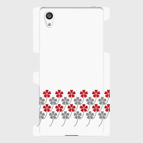 昭和デザイン花柄(赤・灰)/ Androidスマホケース(ハードケース)