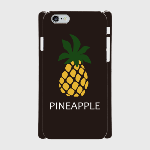 iPhone6/6sスマホケース ☆PINEAPPLE×BROWN ☆側表面印刷 ツヤ有り(コート)