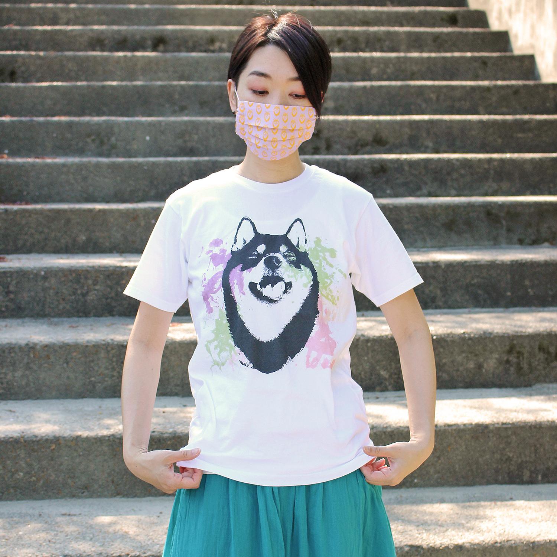 【即納可】 水彩アートな柴犬半袖Tシャツ<男女兼用Sサイズ>