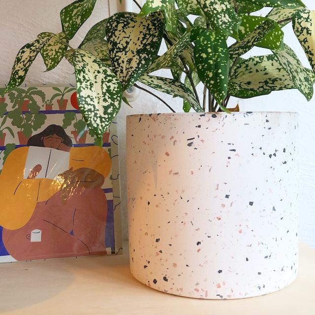 """Cement flower pot cover /FARM""""Marta"""" 鉢カバー(Natural White) φ16.5cm×H15.5cm"""