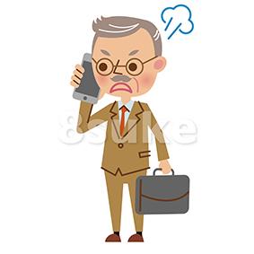 イラスト素材:スマートフォンで通話する年配のビジネスマン/怒った表情(ベクター・JPG)