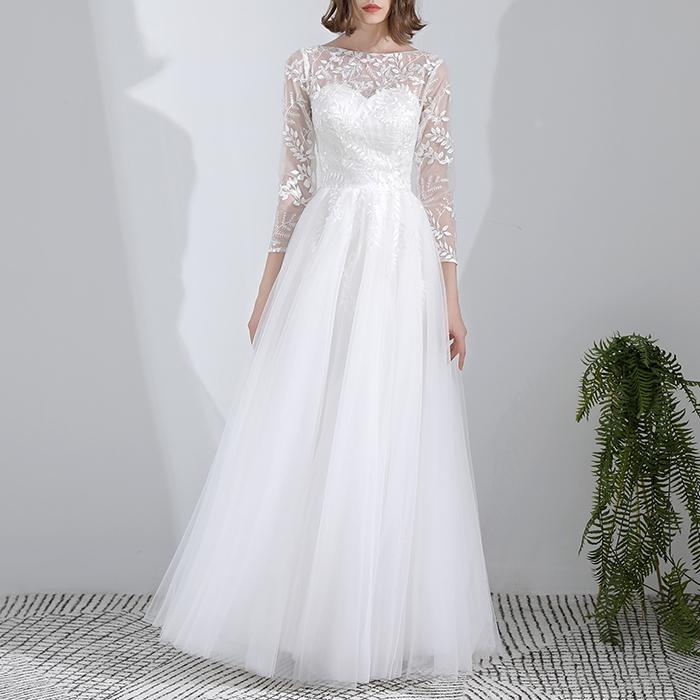 ウエディングドレス ロングドレス リーフ柄レース