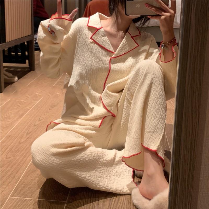 【パジャマ】リボンシンプル韓国系長袖プルオーバーパジャマ25481310