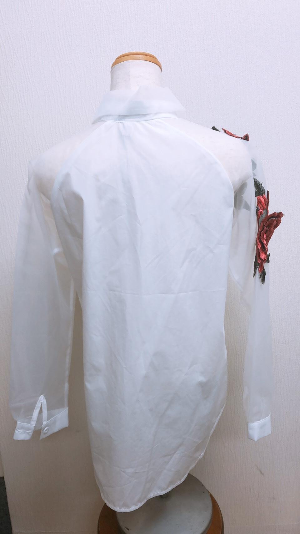 [アウトレット]バラ刺繍シースルーシャツ