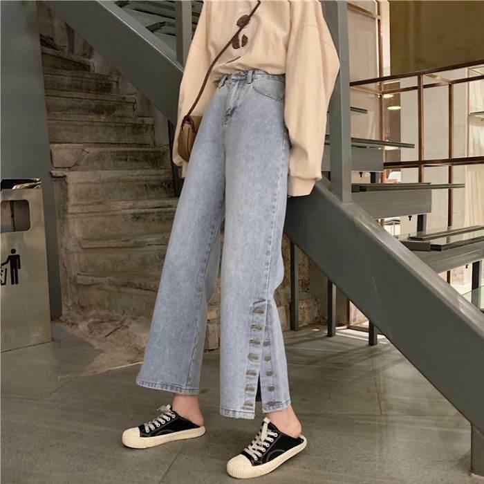 【送料無料】 今季注目パンツ♡ デニム ジーパン サイドスリット ボタン ワイド フレア パンツ ズボン