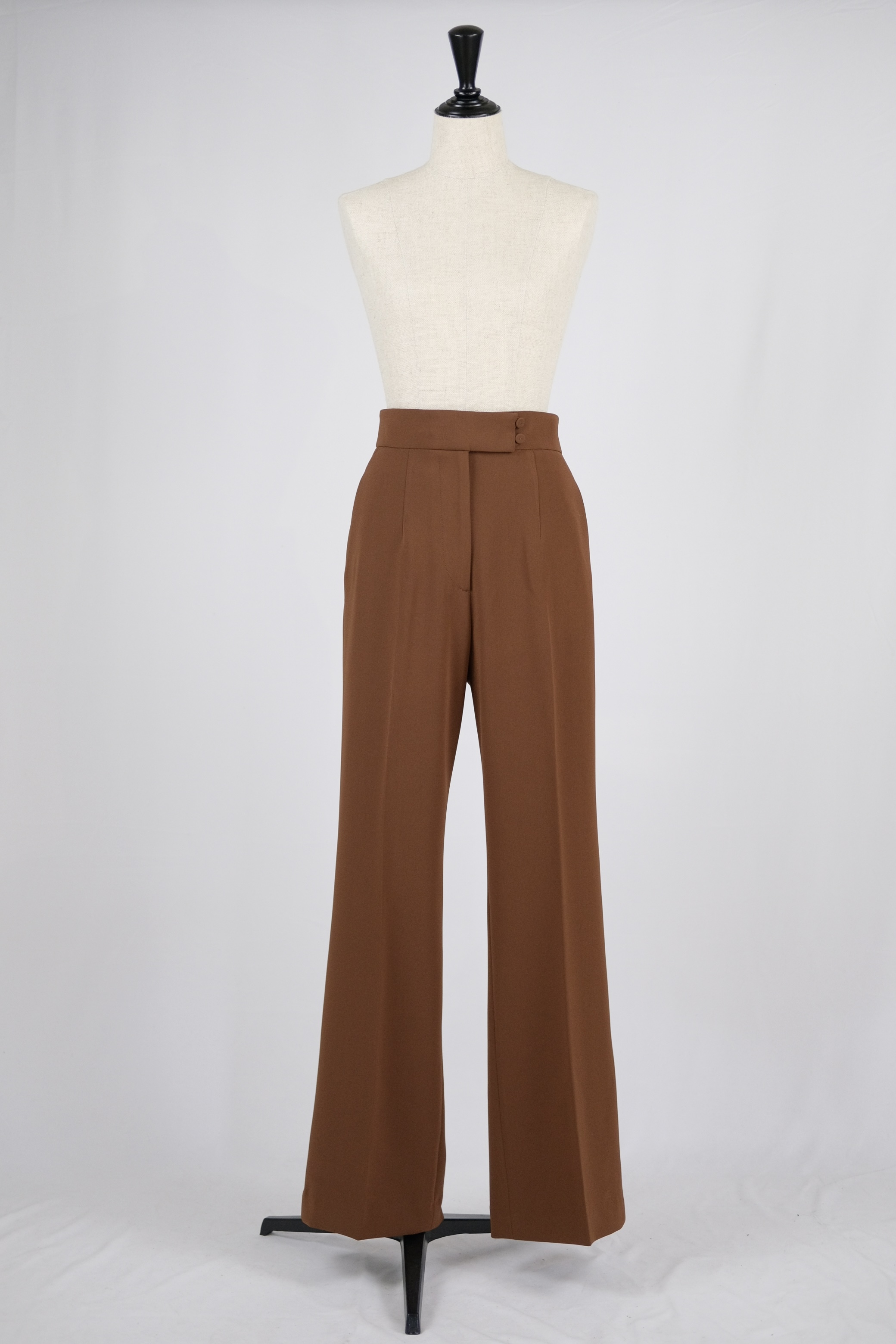 【Mame Kurogouchi】High Waisted Center Creased Suit Trousers - brown